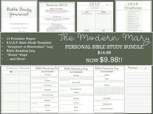Such a good printable bundle from The Modern Mary! S.O.A.P. Bible study journal.