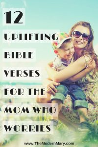 Are you a mom who worries? These 12 encouraging Bible verses are perfect for you! Circle them, memorize them and keep them on the tip of your tongue. #bibleverse #worriedmom #anxiety #depression
