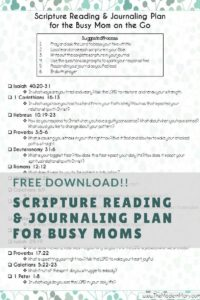 Free download--Perfect for quiet time! Scripture reading & writing plan for busy moms on the go! #ScriptureWriting #BibleVerse #ChristianWoman