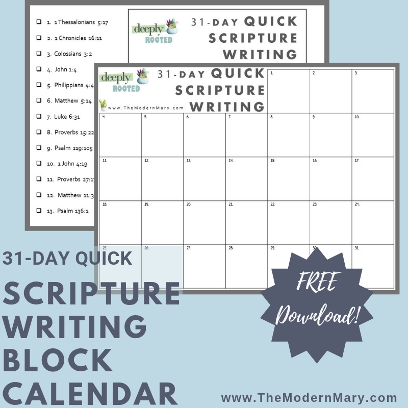 Deeply Rooted: 31-Day Quick Scripture Writing Block Calendar